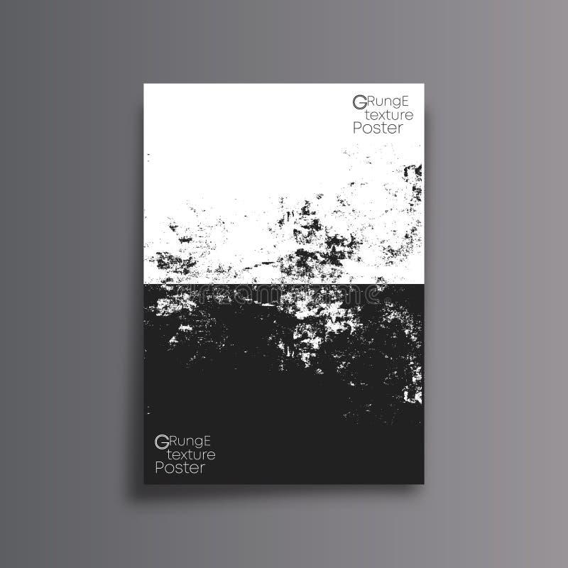 Abstrakcjonistyczny tło z czarny i biały grunge teksturą - minimalny plakatowy projekt royalty ilustracja