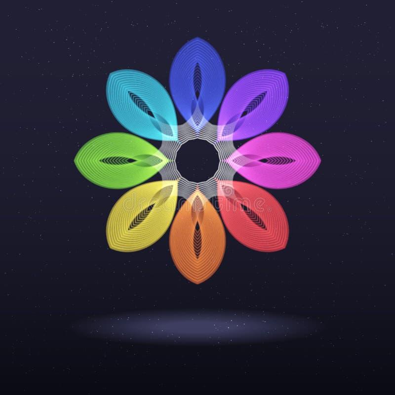 Abstrakcjonistyczny tęcza symbol - Ośmioboczny kwiat ilustracji