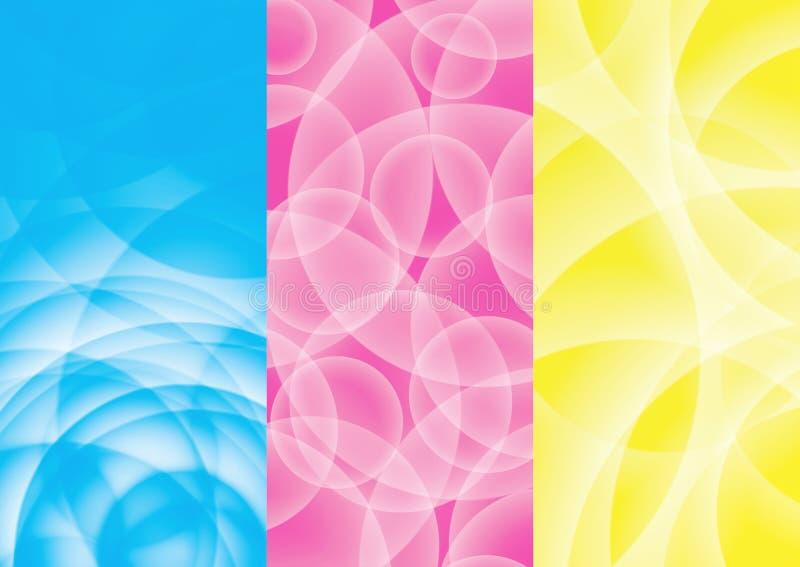 Abstrakcjonistyczny tła błękit, menchia, kolor żółty ilustracja wektor