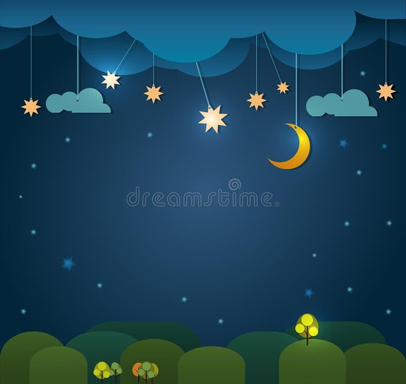 abstrakcjonistyczny tła cięcia papieru wektor Księżyc z gwiazdami, obłoczny niebo przy nocy tłem Pusta przestrzeń dla twój projek ilustracji