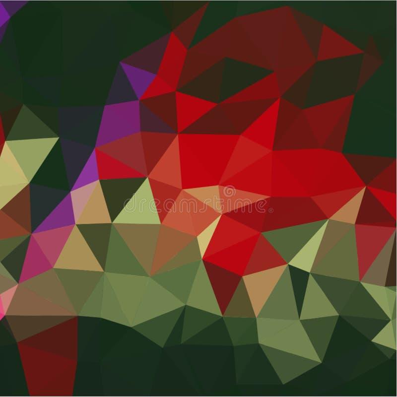 Abstrakcjonistyczny tło błękita, koloru zmroku i światła czerepy w stylu poli- czerwonych i zielonych i ilustracja wektor