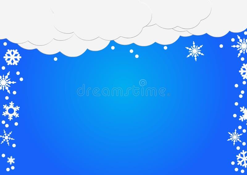 Abstrakcjonistyczny tło biały papier chmurnieje z płatkami śniegu nad błękitem ilustracja wektor