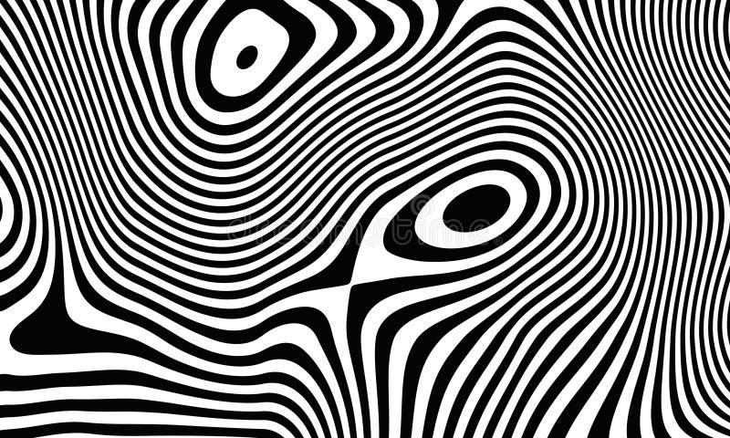 Abstrakcjonistyczny tło czarne białe linie świadczenia 3 d ilustracji