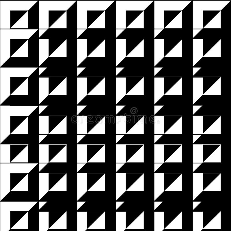 Abstrakcjonistyczny tło, czarny i biały kolor, kwadrat i triangl, royalty ilustracja