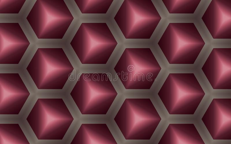 Abstrakcjonistyczny tło 3D sześciany i sześciokąty w miodowym grzebieniowym kształcie ilustracji