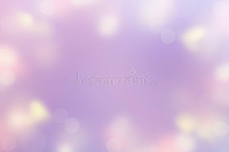 Abstrakcjonistyczny tło Defocused punktu Lekkiego koloru Pastelowi fiołkowi purpurowi żółci Wesoło boże narodzenia Valentine&-x27 royalty ilustracja