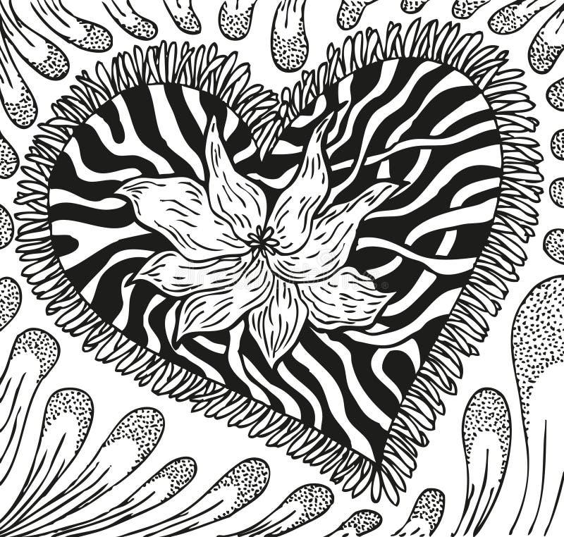 Abstrakcjonistyczny tło doodling ręka rysujący wzory, serce z smugami ilustracja wektor