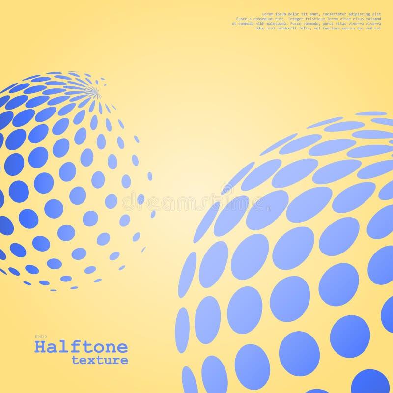 Abstrakcjonistyczny tło halftone sfery w błękitnym kolorze ilustracji