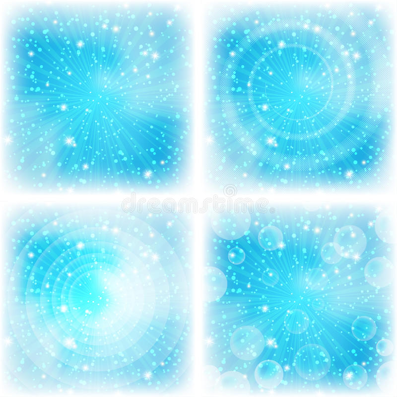 Abstrakcjonistyczny tło, jaskrawy błękit, set royalty ilustracja