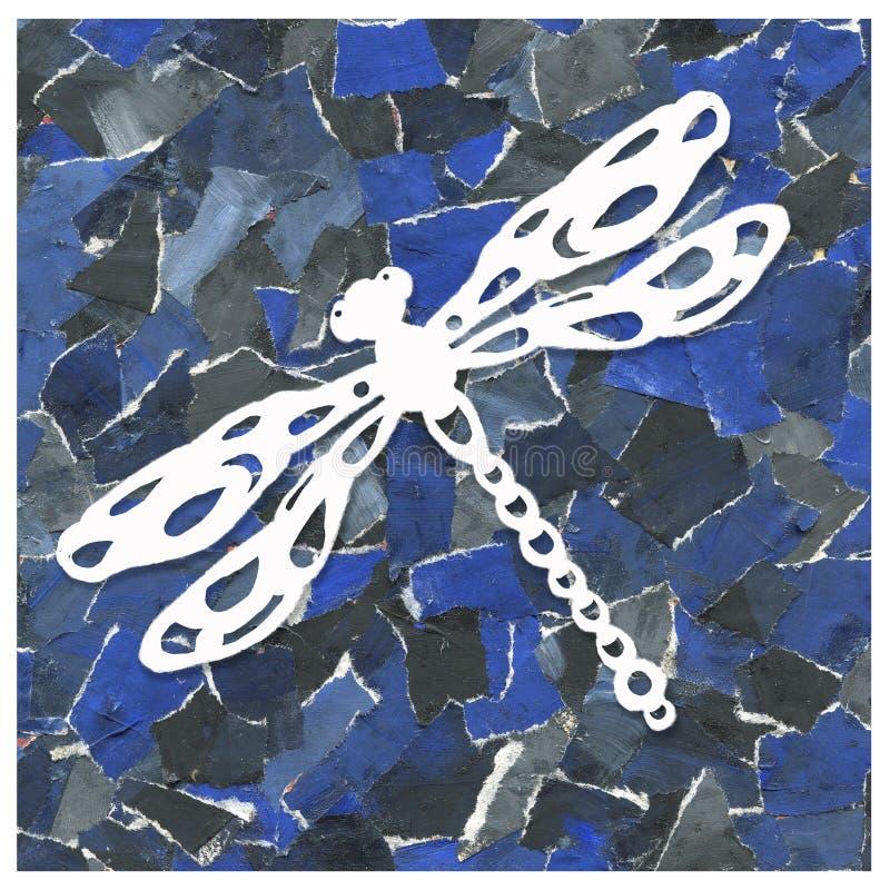 Abstrakcjonistyczny tło kolaż świstki papier z wizerunkiem dragonfly Projekt druki, pakunki, wzory, opakowania, fotografia royalty free