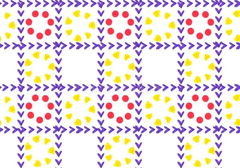 Abstrakcjonistyczny tło kolor żółty i czerwień kwitnie w klatki mozaice ilustracji