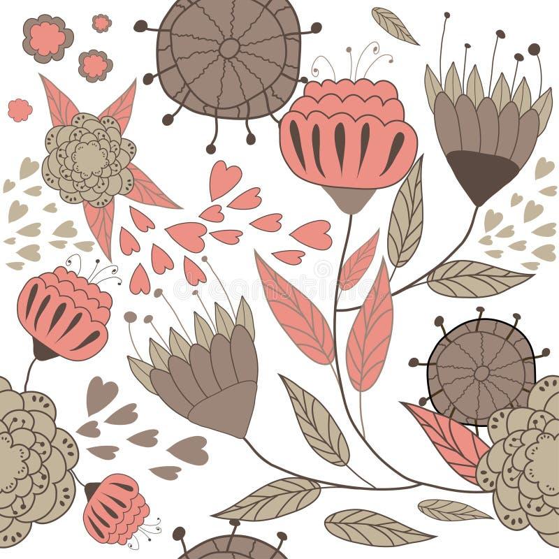 abstrakcjonistyczny tło kwitnie czerwień ilustracja wektor