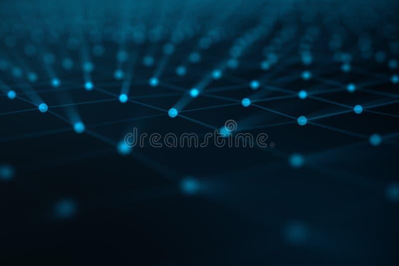 Abstrakcjonistyczny tło linie i kropki, niska poli- siatka Połączenie z internetem technologia Pojęcie neural związki royalty ilustracja