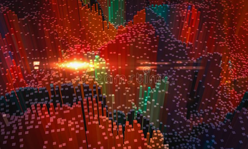 Abstrakcjonistyczny tło, mały kolorowy blok w czerwonym kolorze z obiektywem, 3D odpłaca się royalty ilustracja