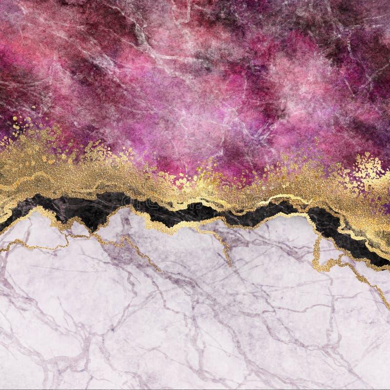 Abstrakcjonistyczny tło, menchia marmur z żyłami dryluje teksturę, złocistą folię i błyskotliwość, malująca sztuczna marmurkowata ilustracji