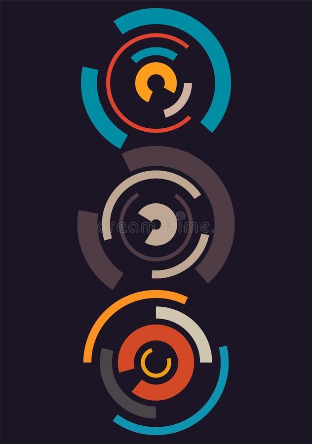 abstrakcjonistyczny tło okrąża kolorowego retro ilustracyjny wektora ilustracji