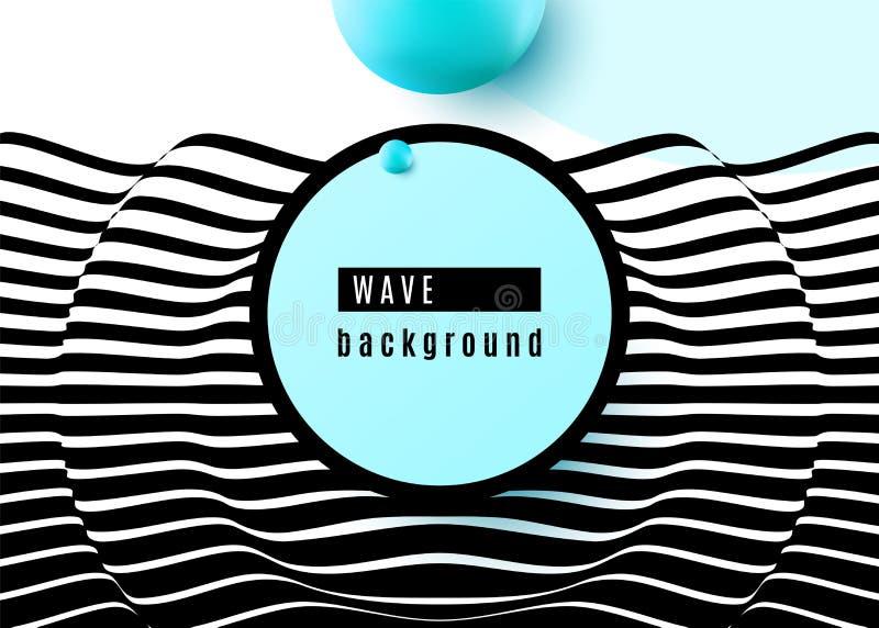 Abstrakcjonistyczny tło projekt z lampas falistymi nawierzchniowymi czarny i biały liniami, błękitny sfera kształt, okrąg, rama 3 ilustracja wektor