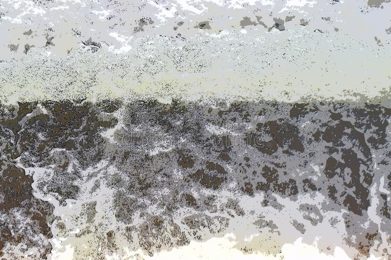 Abstrakcjonistyczny tło przepływ woda - Nieregularni biel kształty z czernią i Popielatymi odcieniami - ilustracja wektor