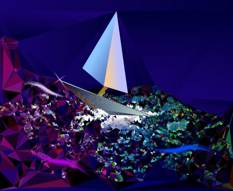 Abstrakcjonistyczny tło przypomina nocy morze z sa royalty ilustracja