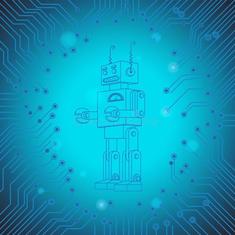 Abstrakcjonistyczny tło stary robota układ scalony Sztucznej inteligencji technologii obwodu deski charakter niebieski obraz nieb ilustracja wektor