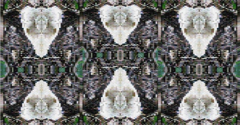 Abstrakcjonistyczny tło stylizowane czaszki royalty ilustracja