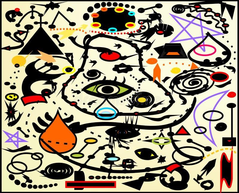Abstrakcjonistyczny tło, stylowy Miro ` francuza malarz zdjęcia stock