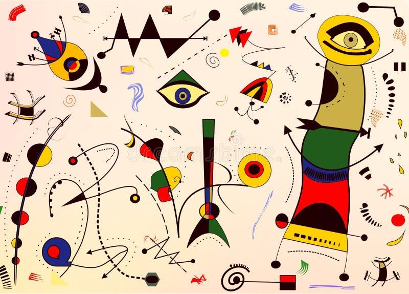 Abstrakcjonistyczny tło, stylowy Miro ` francuza malarz obrazy stock