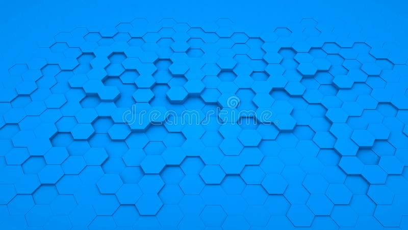Abstrakcjonistyczny tło sześciokąta błękit w perspektywie obraz royalty free