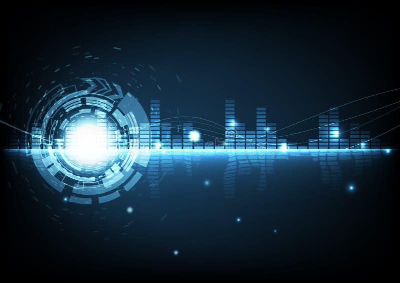 Abstrakcjonistyczny tło technologii cyfrowej nowożytnej muzyki wyrównywacza gl ilustracji