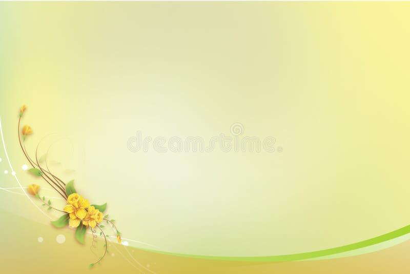 Abstrakcjonistyczny tło z Żółtym kwiatem dla Greetin zdjęcia royalty free