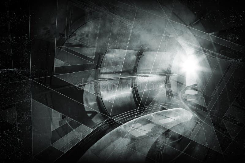 Abstrakcjonistyczny tło z światłem w ciemnym tunelu ilustracji