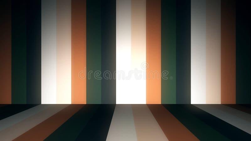 Abstrakcjonistyczny tło z animacją ruszać się kolorowych lampasy na ścianach i podłoga Animacja bezszwowa pętla Abstrakt ilustracja wektor