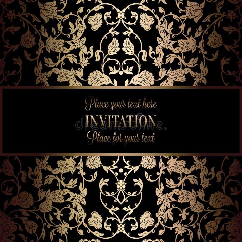 Abstrakcjonistyczny tło z antykiem, luksusową rocznik ramą, czarną i złocistą, wiktoriański sztandar, adamaszkowi kwiecistej tape ilustracji