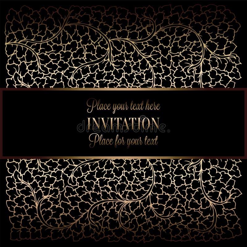 Abstrakcjonistyczny tło z antykiem, luksusową rocznik ramą, czarną i złocistą, wiktoriański sztandar, adamaszkowi kwiecistej tape ilustracja wektor