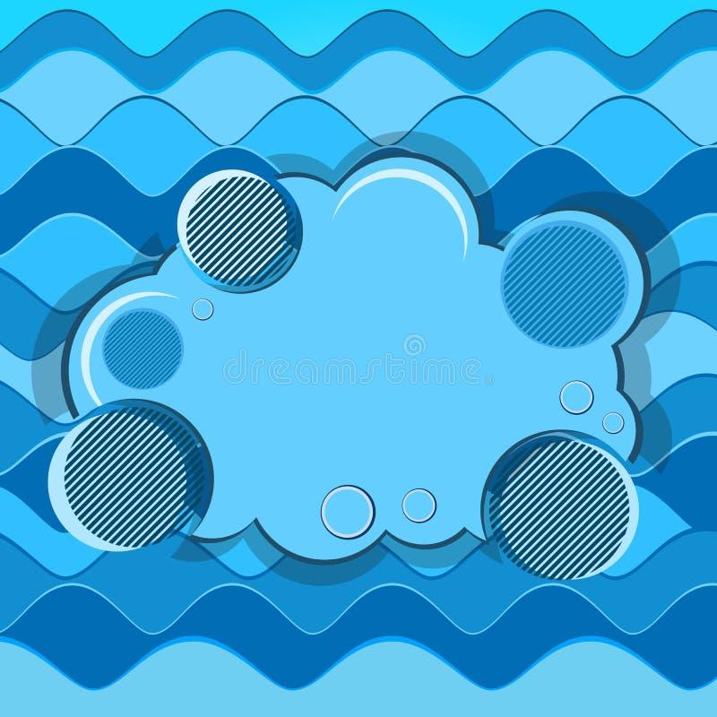 Abstrakcjonistyczny tło z błękit fala i sztandarem ilustracja wektor