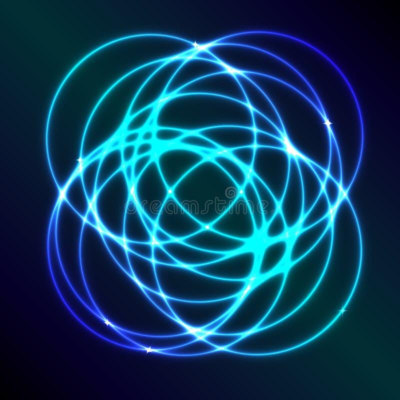 Abstrakcjonistyczny tło z błękitnym osocze okręgu skutkiem ilustracja wektor