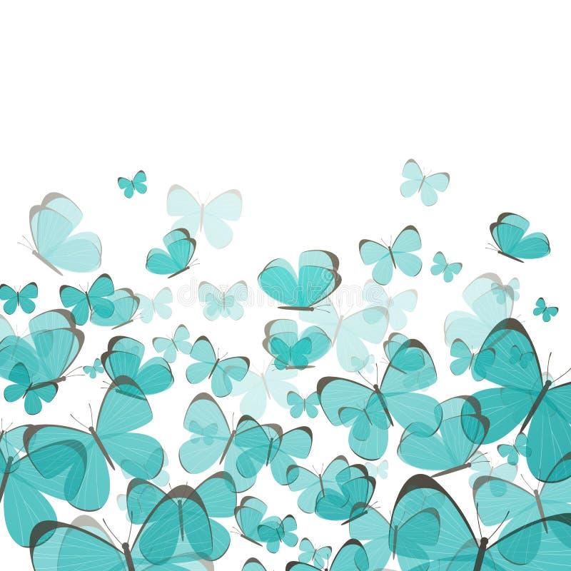 Abstrakcjonistyczny tło z Błękitnymi motylami ilustracja wektor