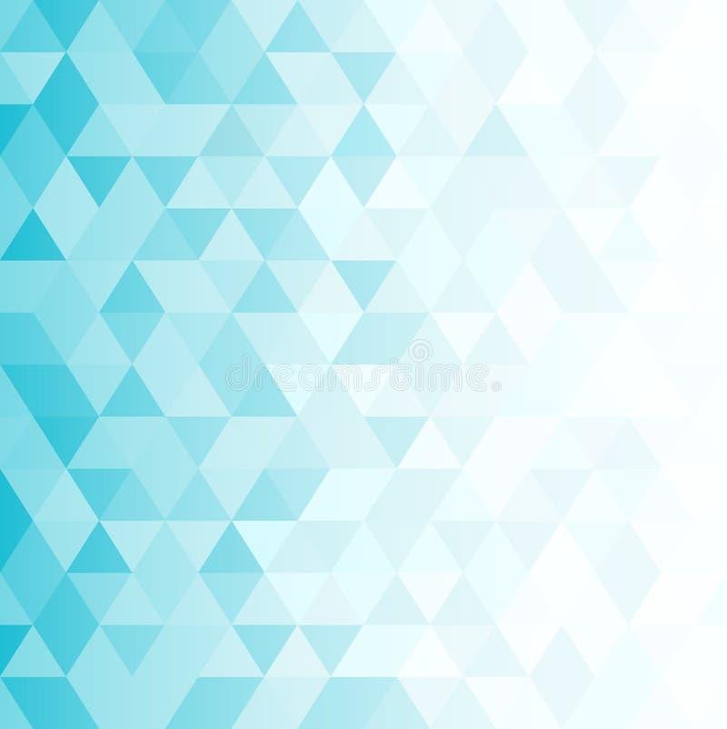 Abstrakcjonistyczny tło z błękitnymi mozaika trójbokami ilustracji