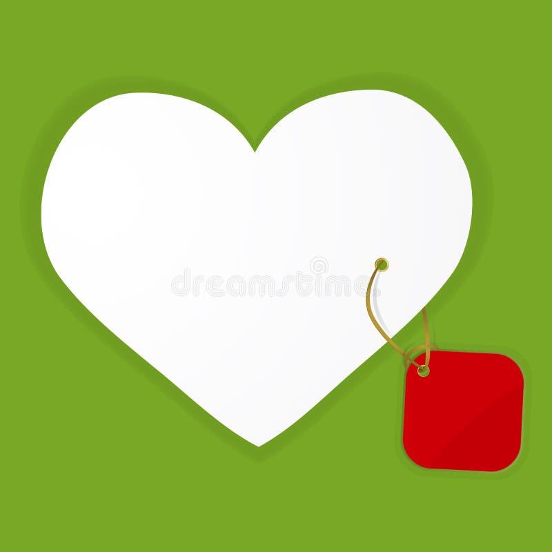 Abstrakcjonistyczny tło z białym sercem i czerwoną etykietką royalty ilustracja