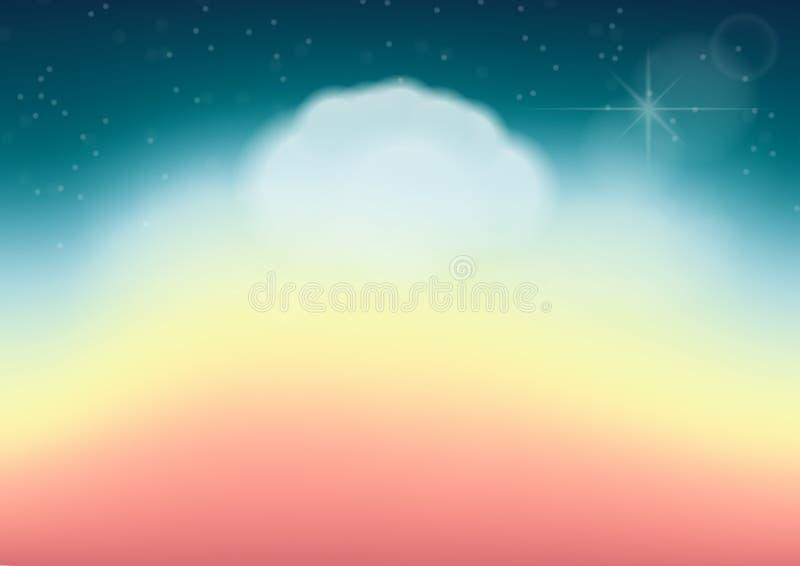 Abstrakcjonistyczny tło z chmurą, niebem i gwiazdą w pastelowym kolorze, Vec ilustracji
