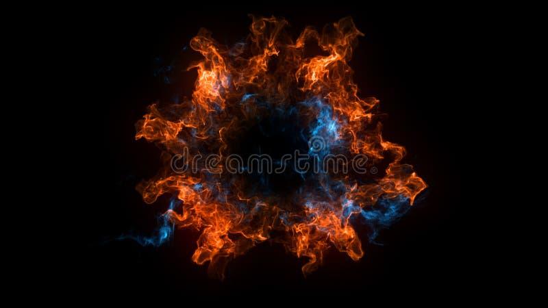 Abstrakcjonistyczny tło z fala uderzeniowa wybuchem na czarnym tle ilustracji