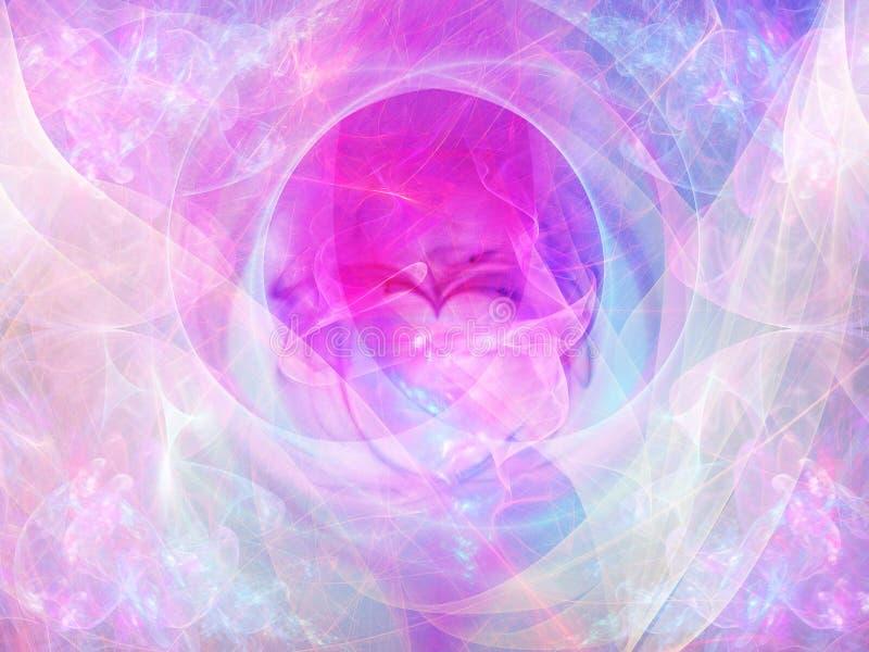 Abstrakcjonistyczny tło z fractal sercem Cyfrowego kolaż royalty ilustracja