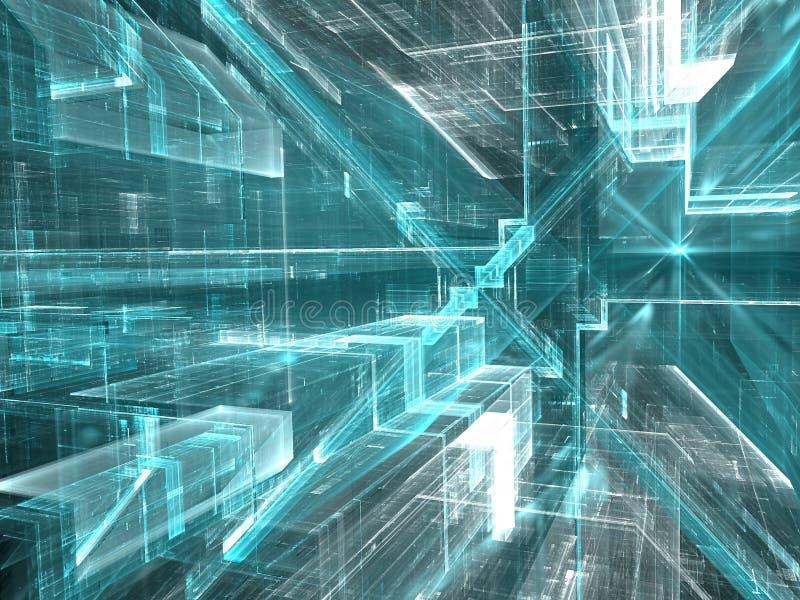 Abstrakcjonistyczny tło z futurystyczną strukturą - cyfrowo genera royalty ilustracja
