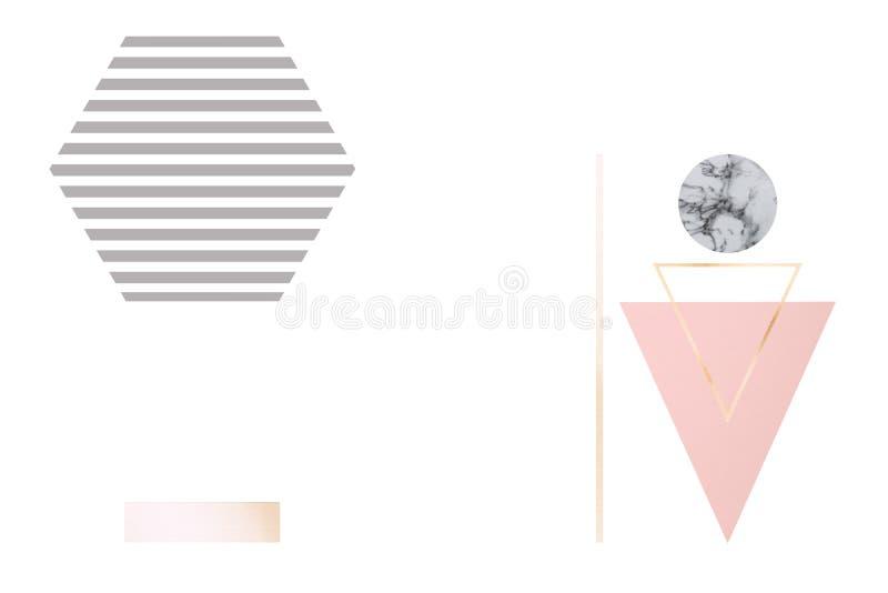 Abstrakcjonistyczny tło z geometrical postaciami w pastelowych kolorów złocie, lodowisko, popielaty, marmurowy minimalisty styl,  ilustracja wektor