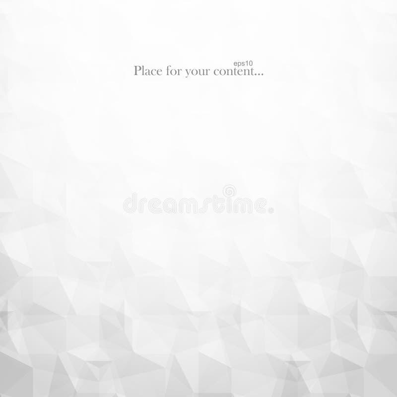 Abstrakcjonistyczny tło z geometrycznymi wieloboków kształtami Wektorowa biała i szara mozaiki tekstura Lekki projekt ilustracja wektor