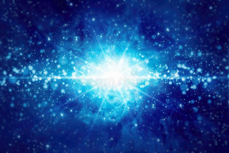 Abstrakcjonistyczny tło z jaskrawą błękitną gwiazdą, zaświeca i błyska ilustracji