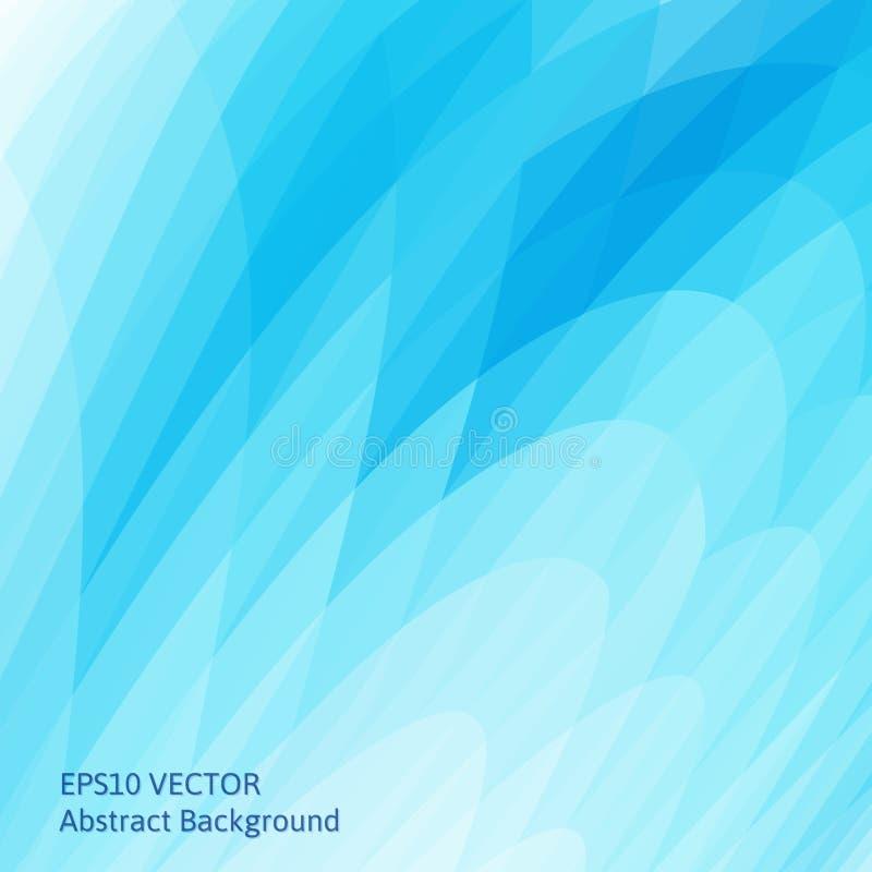 Abstrakcjonistyczny tło z jaskrawymi błękitnymi falistymi kształtami Gładkie krzywy geometryczni kształty ilustracji