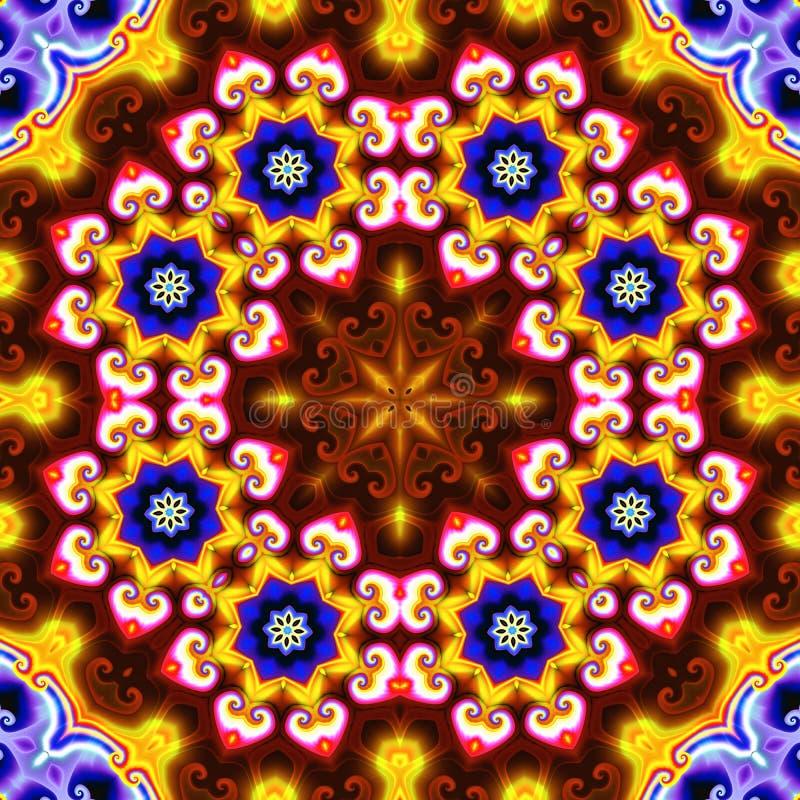 Abstrakcjonistyczny tło z kółkowym ornamentem gwiazdy z i gwiazda w centrum skład głównymi atrakcjami i iluminacją royalty ilustracja