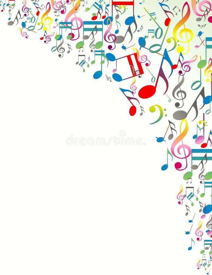 Abstrakcjonistyczny tło z Kolorowymi Muzycznymi notatkami royalty ilustracja