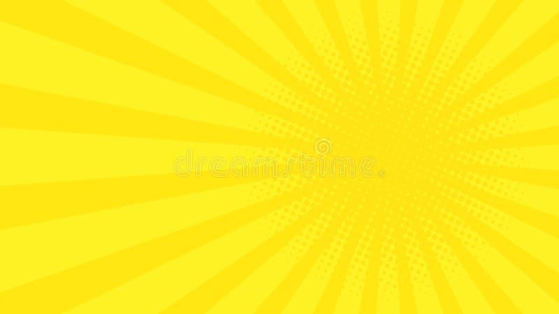 Abstrakcjonistyczny tło z kreskówka promieniami żółty kolor Szablon dla twój projektów kreskówki ilustracyjny słońca wektor Halft ilustracja wektor